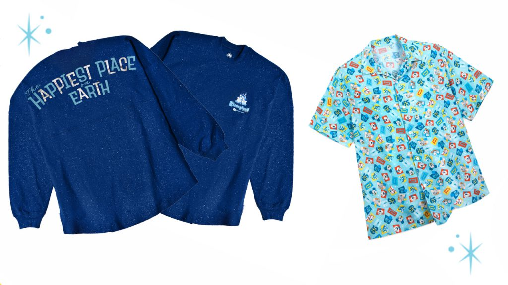 """Spirit jersey with """"The Happiest Place on Earth"""" and button-up shirt with some of the beloved icons of Disneyland park"""