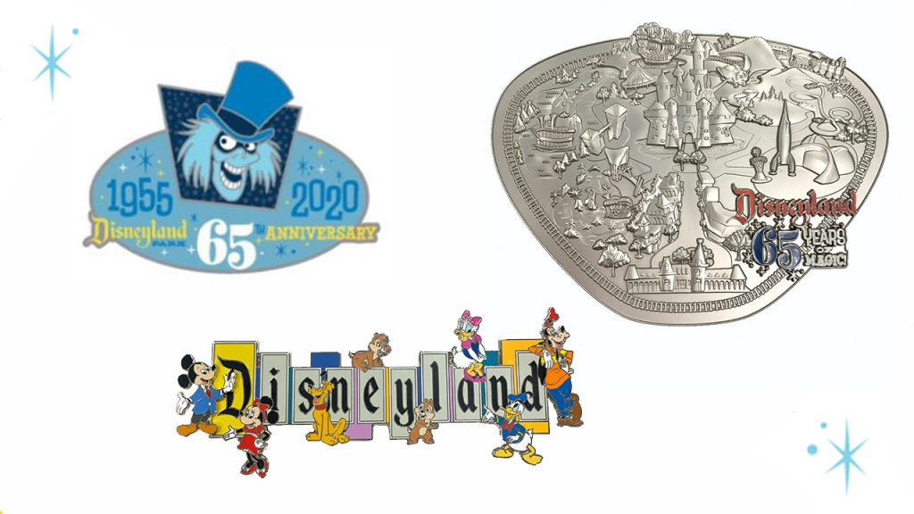 Limited edition pins featuring the Hat Box Ghost, the iconic Disneyland marquee and even a map of the park as seen in 1955