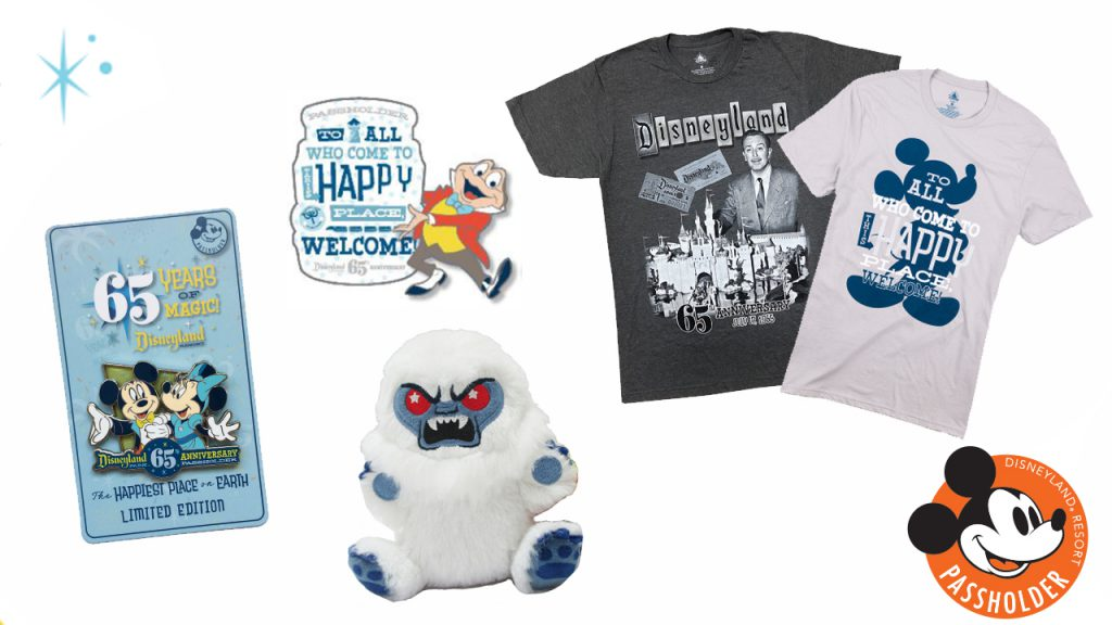 assortment of items available only for our Disneyland Resort Annual Passholders through the Disneyland Park 65th anniversary online merchandise event