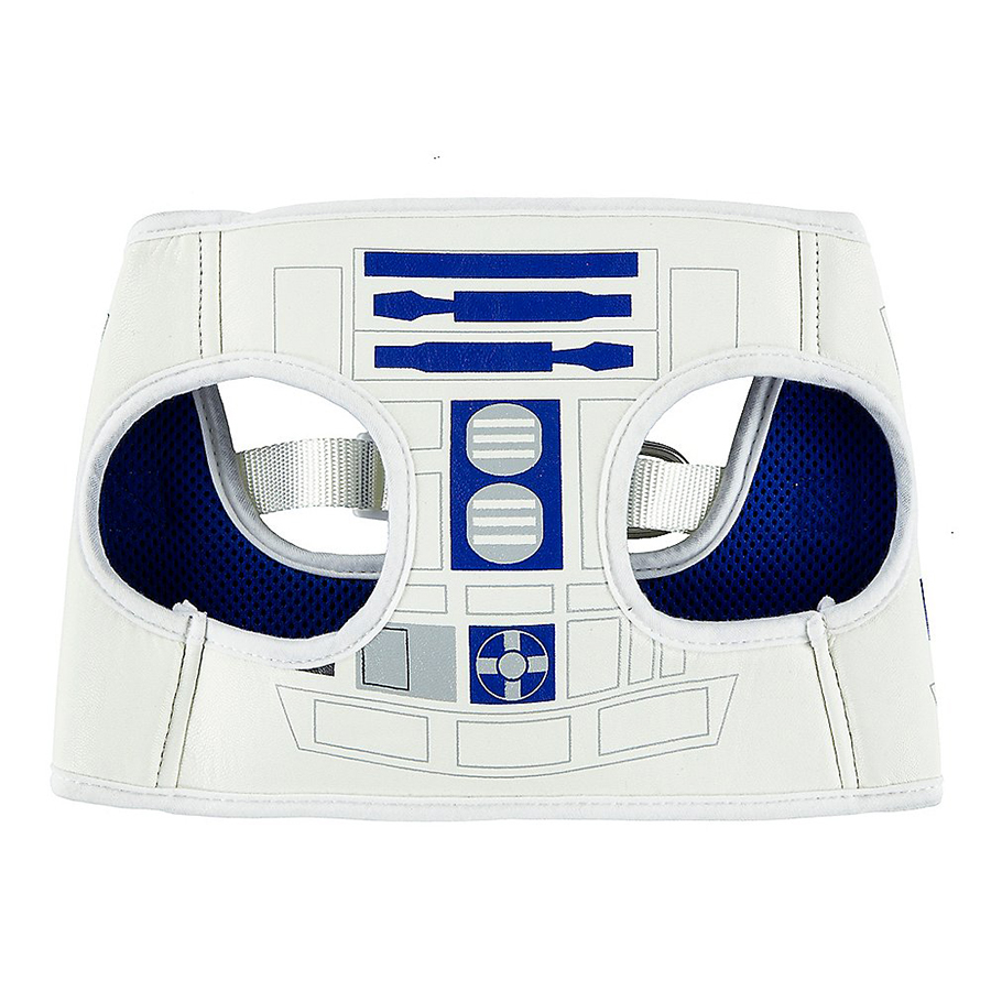 R2-D2-themed costume harness for dogs
