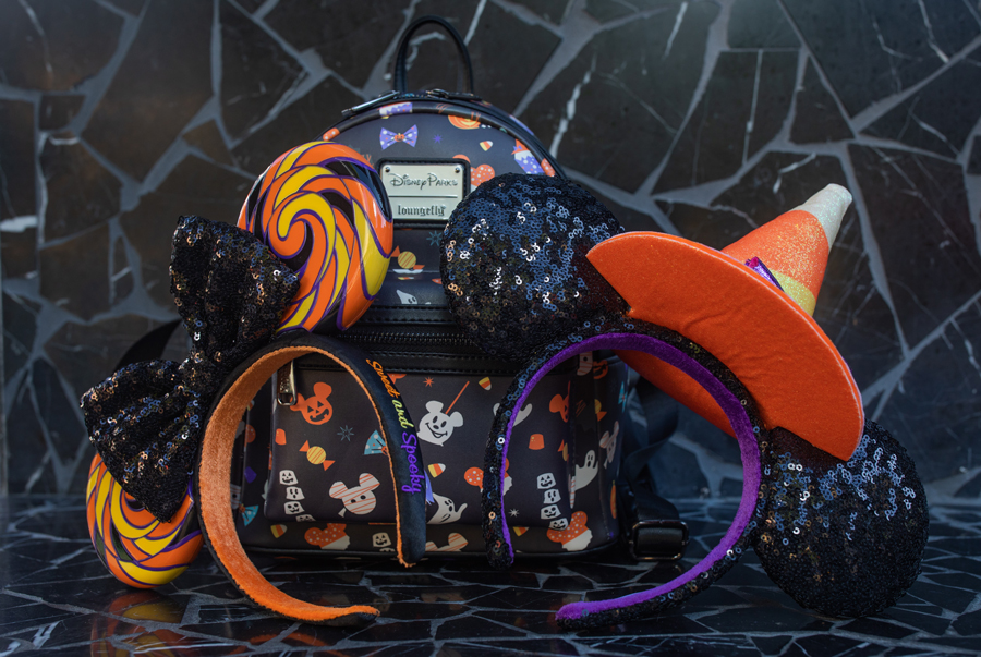Loungefly backpack and Minnie Mouse headbands