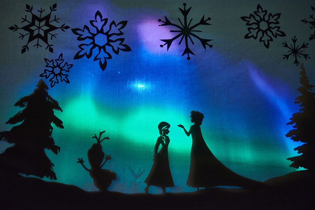 """""""Frozen"""" performance with these printable shadow puppet characters from Disney Family"""