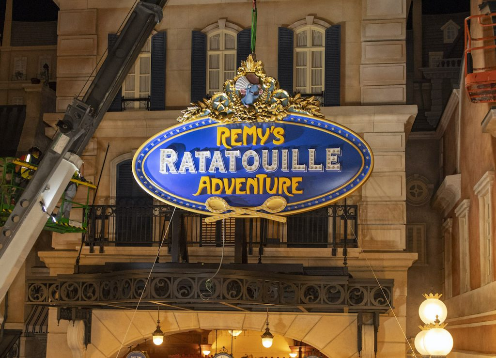 Exterior sign for Remy's Ratatouille Adventure at EPCOT