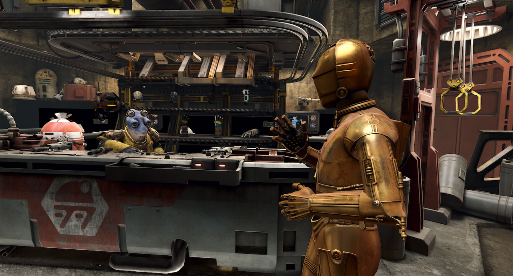 Scene from New Virtual Reality Adventure Star Wars: Tales from the Galaxy's Edge