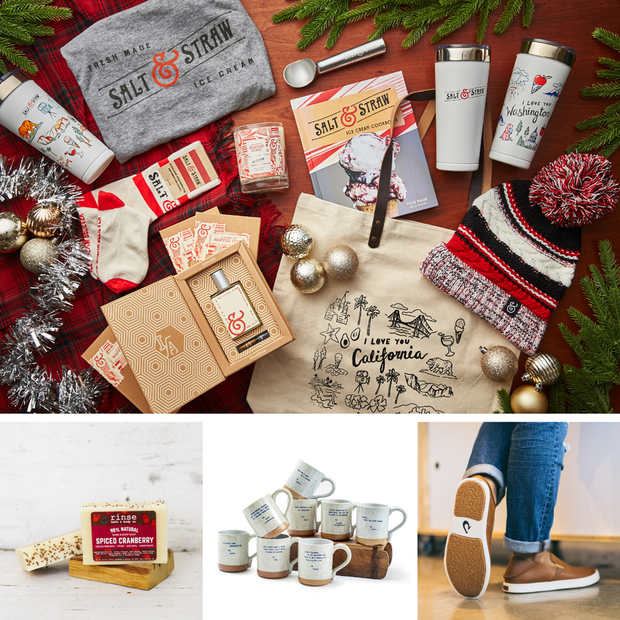 Collage of gifts from Salt & Straw, Rinse Bath & Body Co., Sugarboo & Co. and California Sole