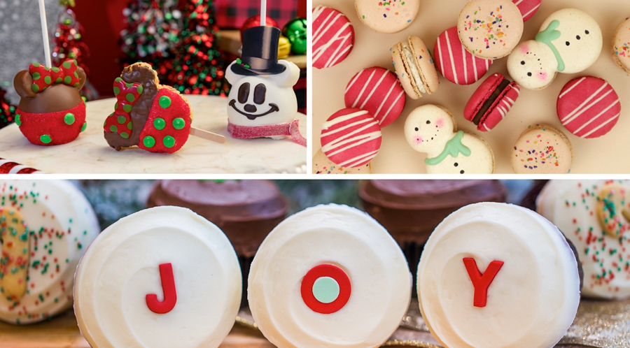 Collage of holiday treats from Marceline's Confectionery, Kayla's Cakes and Sprinkles