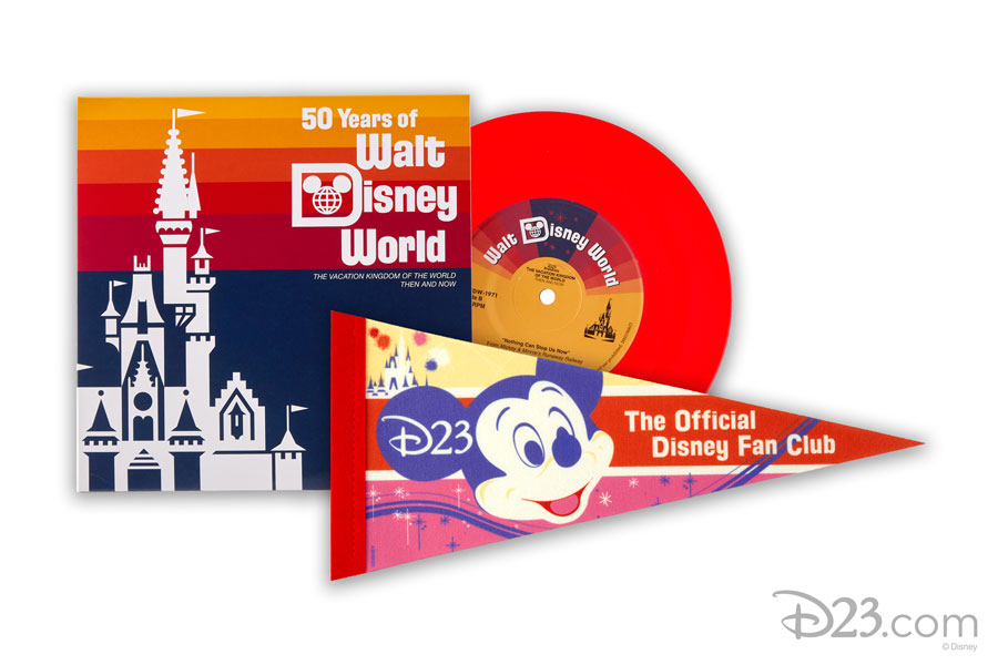 """D23's New Collector Set: Walt Disney World: Then and Now, a """"mini-version"""" of the ultimate theme park souvenir: the theme park soundtrack album and full-sized D23 pennant"""