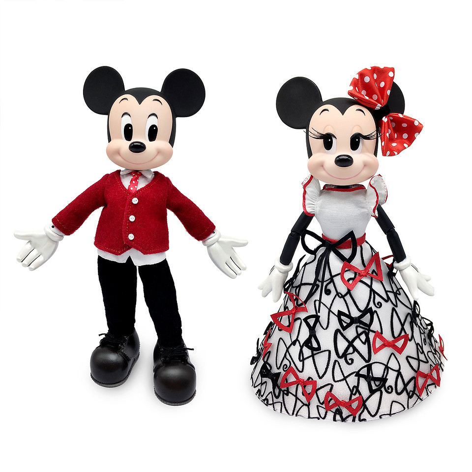 Limited-edition doll set featuring both Mickey Mouse and his sweetheart, Minnie Mouse in elegant attire
